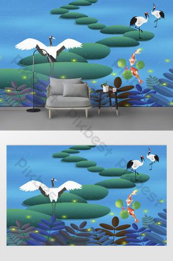 الخيال الحديثة الجميلة اليراع بحيرة الأبيض رافعة الكارب التلفزيون خلفية الجدار الديكور والنموذج قالب PSD