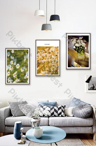 北歐風格植物花卉雛菊風景客廳臥室裝飾畫 裝飾·模型 模板 PSD