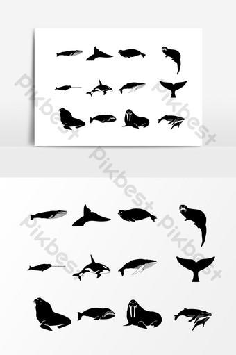 dibujado a mano elementos de silueta de pez negro Elementos graficos Modelo AI