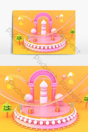 c4d卡通糖果色拱形舞台場景模型 裝飾·模型 模板 C4D