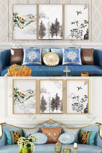 簡歐手繪淡色植物葉子客廳臥室裝飾畫 裝飾·模型 模板 PSD