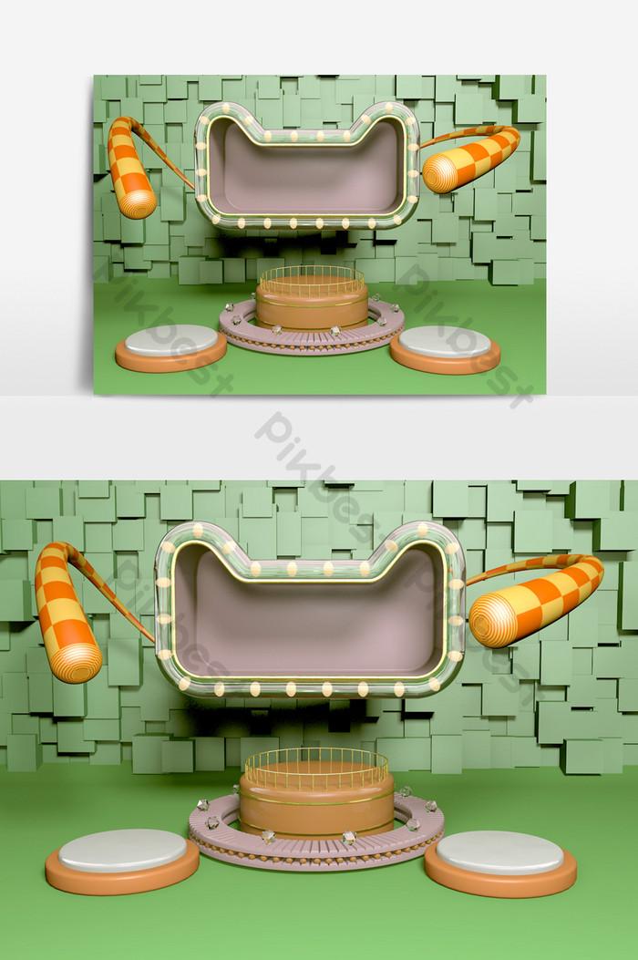 renderowanie oc modelu sceny aktywności e-commerce green c4d