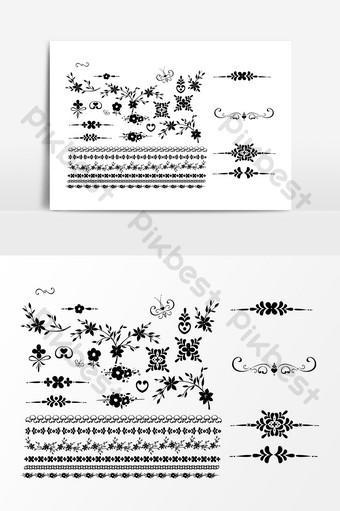黑色歐式裝飾花紋花邊設計元素 元素 模板 AI