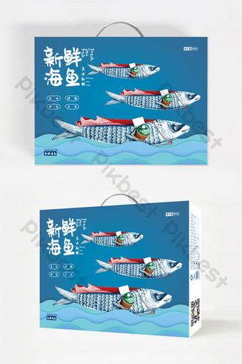 Blue minimalist illustration fresh sea fish seafood food packaging design Template PSD