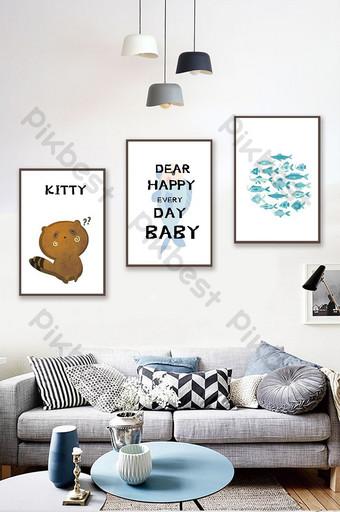 Tangan dicat hewan kucing ikan kecil lukisan dekorasi kamar anak-anak kamar tidur Dekorasi dan model Templat PSD