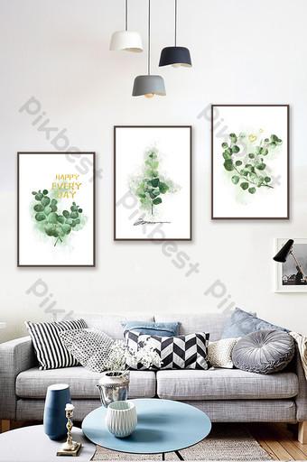 手繪淺色植物葉子客廳臥室裝飾畫 裝飾·模型 模板 PSD