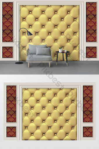 新現代白色石膏線歐式金色皮革軟包背景牆 裝飾·模型 模板 PSD