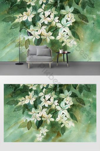 الحد الأدنى الحديثة الصغيرة الطازجة المائية زهرة النبات خلفية الجدار الديكور والنموذج قالب PSD