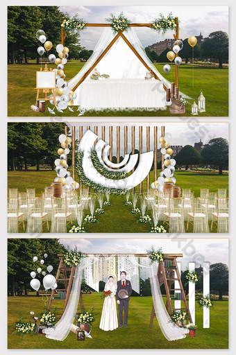 Mori series beautiful lawn wedding layout renderings Decors & 3D Models Template PSD