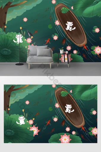 dibujos animados dibujados a mano gato blanco hoja de loto verde pescado escuela niños habitación fondo pared Decoración y modelo Modelo PSD
