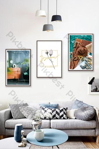 簡歐現代時尚靜物帽子花瓶客廳臥室裝飾畫 裝飾·模型 模板 PSD