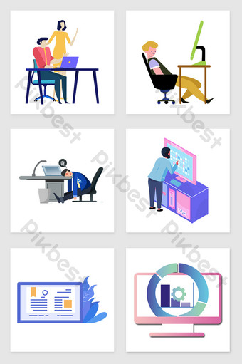 drawing people using computers set of illustration elements Illustration Template PSD