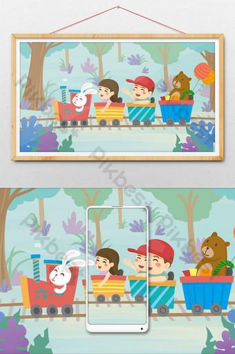 día de los niños frescos y planos niños montando tren pequeño ilustración Ilustración Modelo PSD