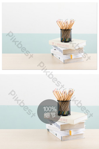 桌上的學習用品筆筒書本攝影圖片 攝影圖 模板 JPG