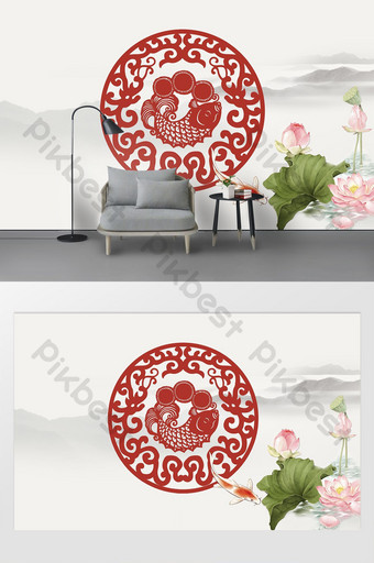 Chinese style paper cut fish sea ripple plum blossom national tide red background wall Decors & 3D Models Template PSD