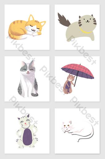 drawing cute cat set illustration elements Illustration Template PSD
