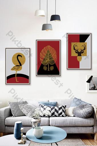 北歐風格高端定制抽象幾何動物客廳臥室裝飾畫 裝飾·模型 模板 PSD