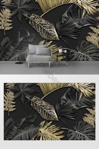 modern minimalis dinding latar belakang daun emas hitam gaya Dekorasi dan model Templat PSD