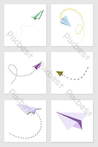 drawing paper airplane set of illustration elements Illustration Template PSD