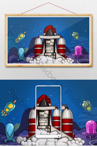 espacio nave espacial cohete planeta gif ilustración Ilustración Modelo PSD