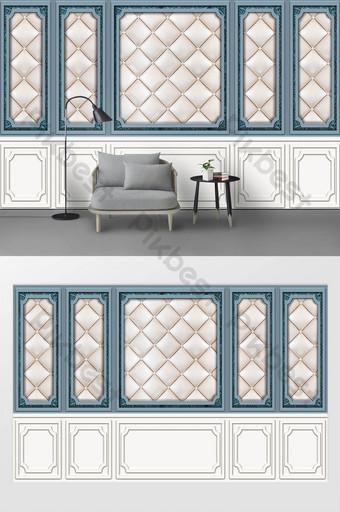 新現代北歐淺藍色石膏線皮革軟包背景牆 裝飾·模型 模板 PSD