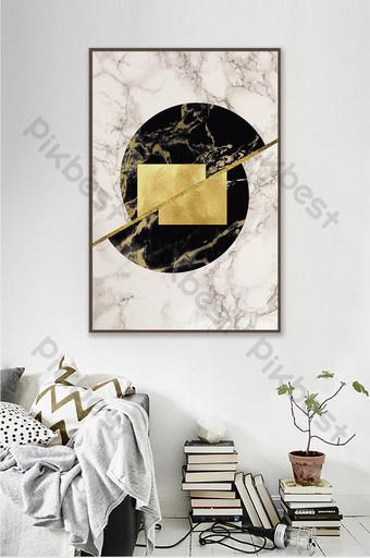 Tableau décoratif de marbre d'art abstrait de feuille d'or de figure géométrique de style nordique Décoration et modèle Modèle TIF