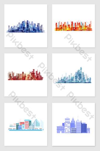 Vẽ tay thành phố đầy màu sắc thiết lập các yếu tố minh họa Minh họa Bản mẫu PSD
