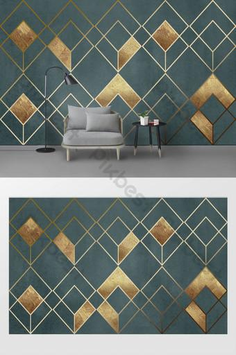對比色幾何抽象金線紋理臥室背景牆 裝飾·模型 模板 TIF
