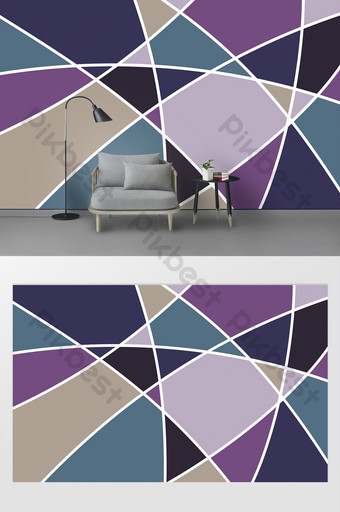 Matching color, trendy, segmentation, spring tide, trendy background wall Decors & 3D Models Template PSD
