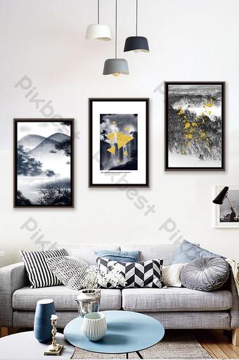 簡約歐式黑白抽象植物風景客廳臥室酒店裝飾畫 裝飾·模型 模板 PSD