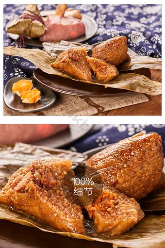 ملء صفار البيض zongye zongzi الأزهار القماش طاولة خشبية الغذاء التصوير الصورة التصوير قالب JPG