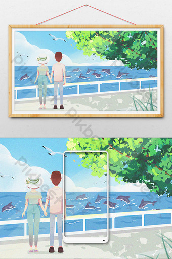 Couple walking on the beach watching dolphins swimming cartoon illustration Illustration Template PSD