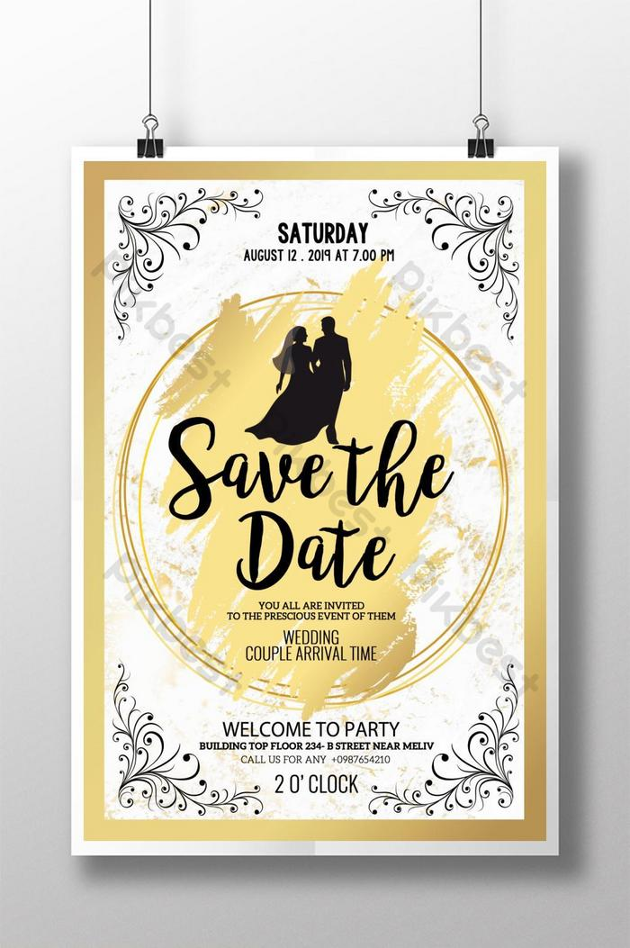 Gold Elegant Save The Date Poster