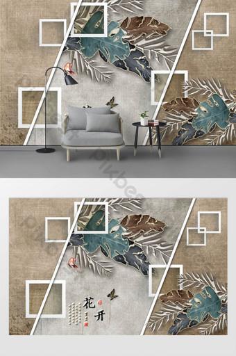 tanaman tropis nordic meninggalkan dinding latar belakang tv geometris minimalis modern Dekorasi dan model Templat TIF