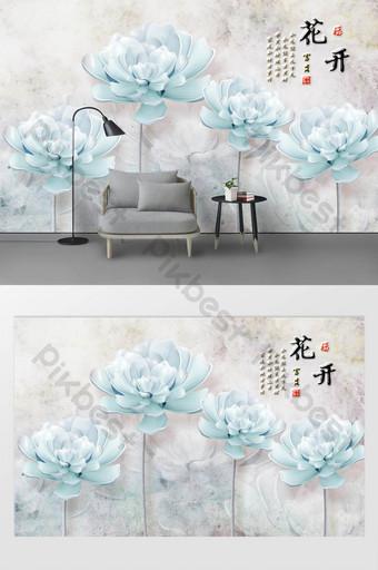 3d stereo relief bunga magnolia dinding latar belakang tv minimalis modern Dekorasi dan model Templat TIF