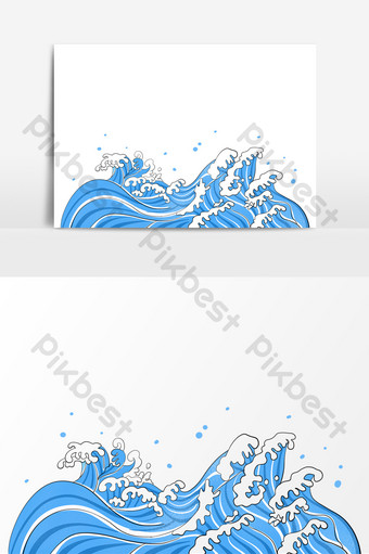 wave sea water cartoon element japanese pattern PNG Images Template PSD