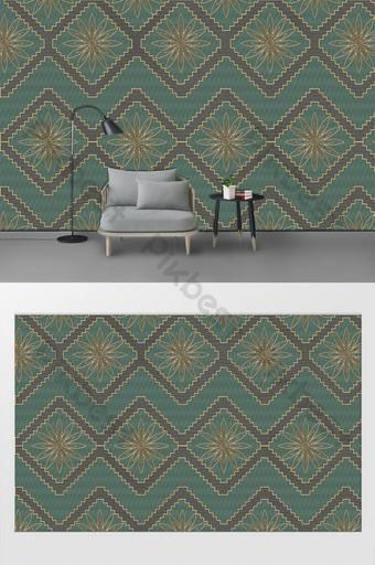 簡約現代創意幾何花客廳臥室背景牆 裝飾·模型 模板 PSD