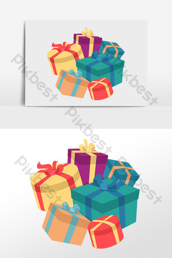 手繪兒童節快樂很多禮物圖 元素 模板 PSD