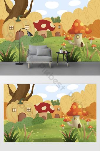 الحديثة الكرتون الغابات اليقطين منزل الفطر غرفة الأطفال خلفية الجدار الديكور والنموذج قالب PSD