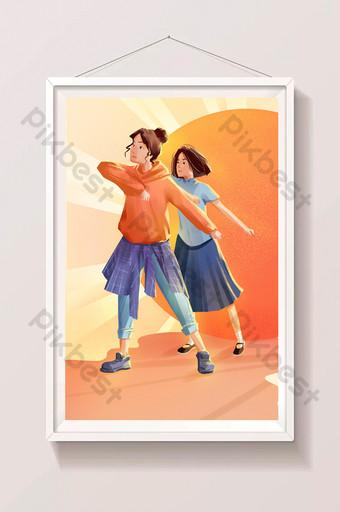 橙色勵志5月4日精神遺產圖 插畫 模板 PSD