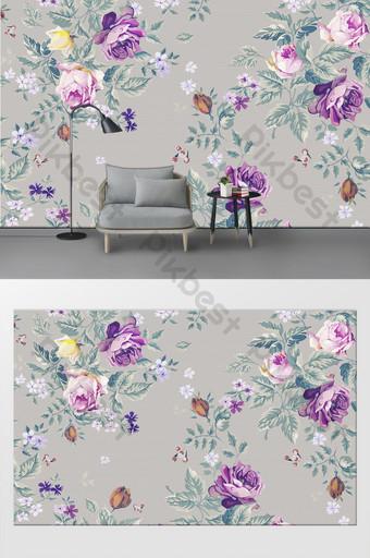 pintado a mano moderno minimalista pequeño patrón fresco sofá fondo pared Decoración y modelo Modelo PSD