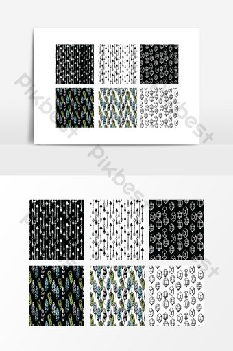 Seamless stitching pattern design PNG Images Template AI