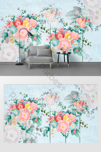 粉色玫瑰蝴蝶臥室客廳背景牆 裝飾·模型 模板 TIF