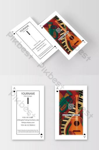 Style de carte à jouer rétro design d'entreprise de club de musique exquise Modèle PSD