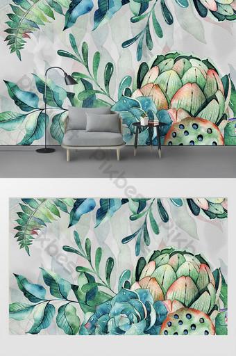 الحد الأدنى الحديثة الجديدة مرسومة باليد زهرة النباتات الخضراء خلفية الجدار جدارية الديكور والنموذج قالب PSD
