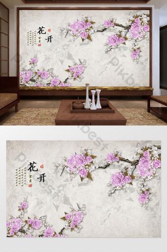 玫瑰花蝴蝶臥室客廳背景牆 裝飾·模型 模板 TIF