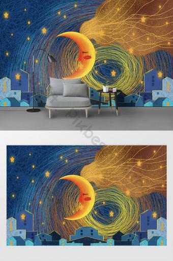 حديث النجوم القمر منزل الجدار الخلفية الديكور والنموذج قالب PSD