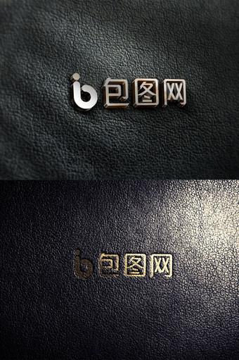 marca de cuero negro textura tridimensional logo etiqueta maqueta Modelo PSD