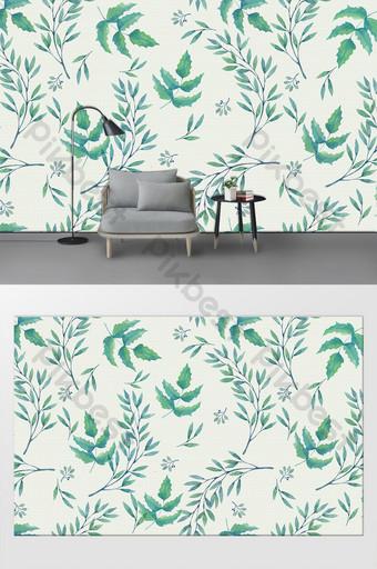 رسمت باليد الشمال الحد الأدنى النباتات الخضراء غرفة المعيشة أريكة الخلفية الديكور والنموذج قالب PSD