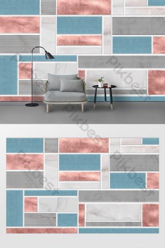 Pared de fondo de sala de estar de empalme rojo y azul geométrico minimalista moderno fresco Decoración y modelo Modelo PSD